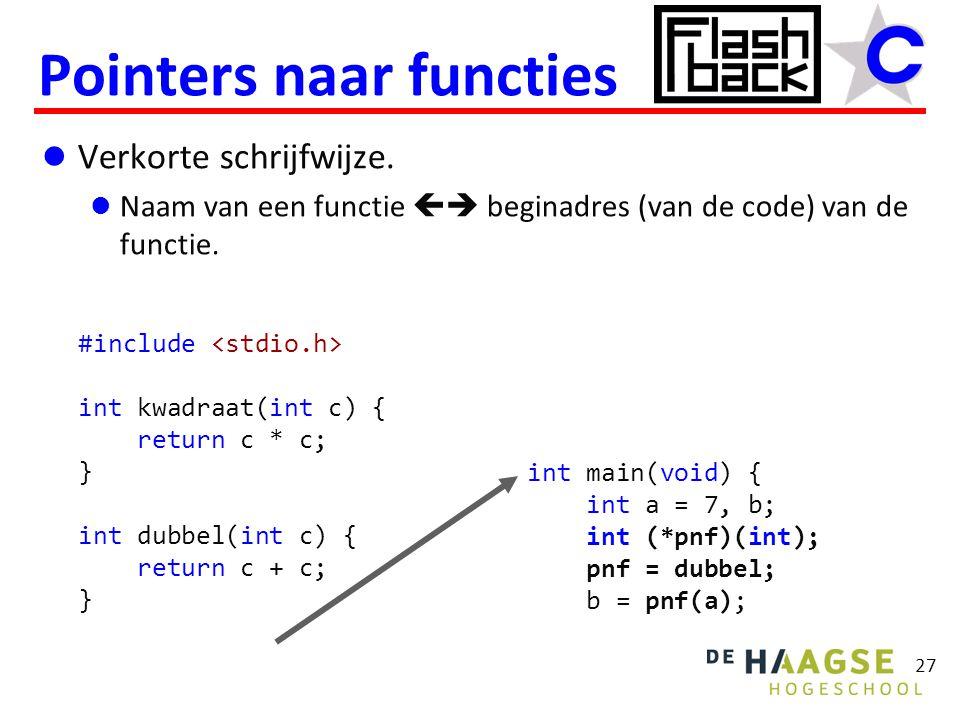 Verkorte schrijfwijze. Naam van een functie  beginadres (van de code) van de functie. Pointers naar functies 27 #include int kwadraat(int c) { retur