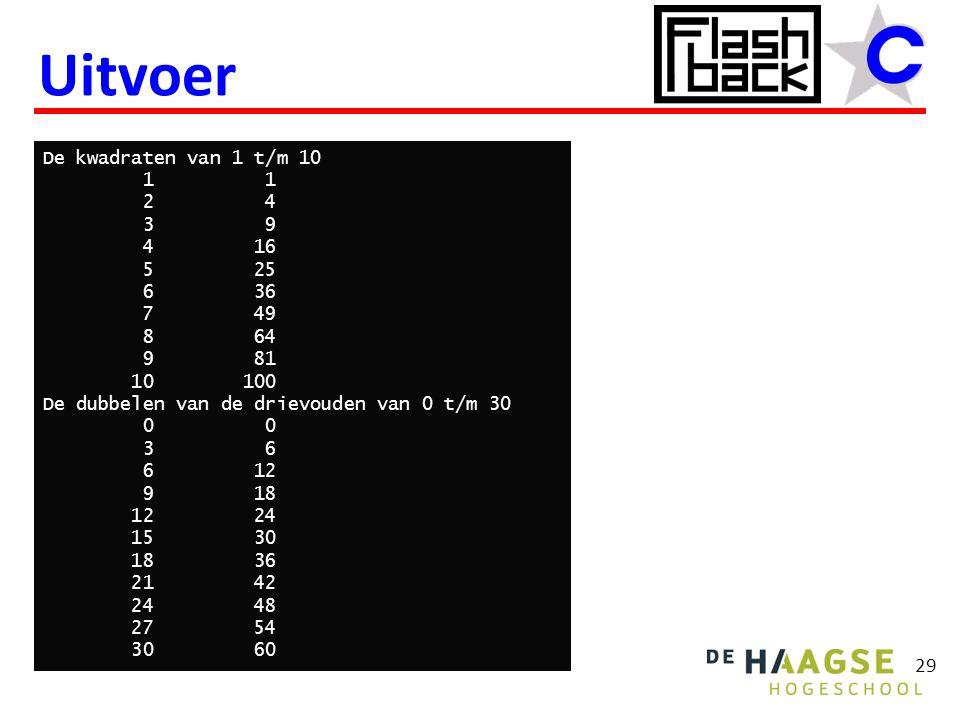 Uitvoer 29 De kwadraten van 1 t/m 10 1 1 2 4 3 9 4 16 5 25 6 36 7 49 8 64 9 81 10 100 De dubbelen van de drievouden van 0 t/m 30 0 0 3 6 6 12 9 18 12