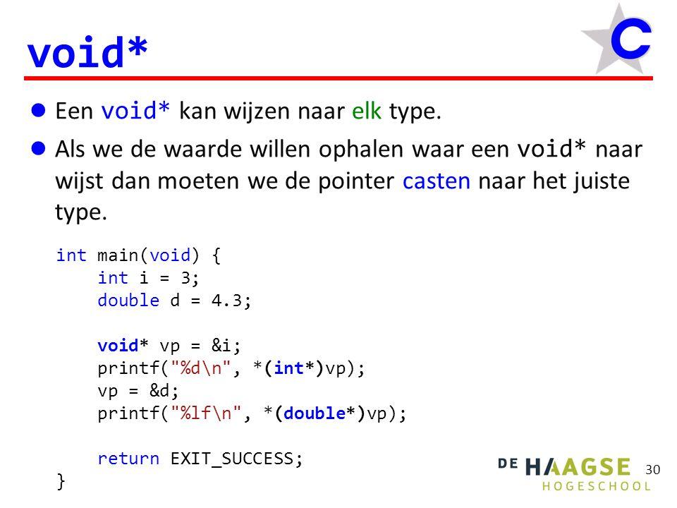 Een void* kan wijzen naar elk type. Als we de waarde willen ophalen waar een void* naar wijst dan moeten we de pointer casten naar het juiste type. vo
