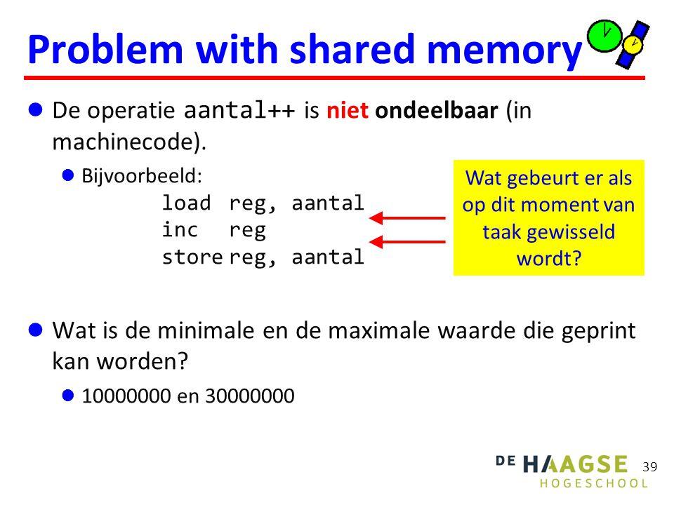 Problem with shared memory De operatie aantal++ is niet ondeelbaar (in machinecode). Bijvoorbeeld: loadreg, aantal increg storereg, aantal Wat is de m
