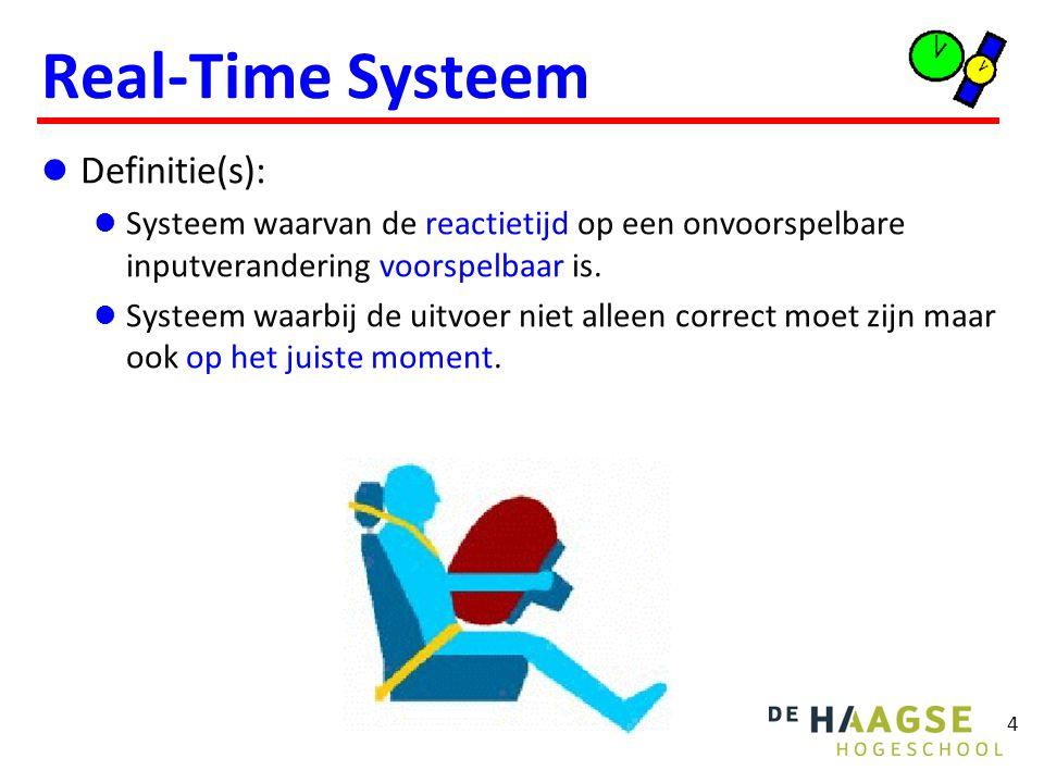4 Real-Time Systeem Definitie(s): Systeem waarvan de reactietijd op een onvoorspelbare inputverandering voorspelbaar is. Systeem waarbij de uitvoer ni