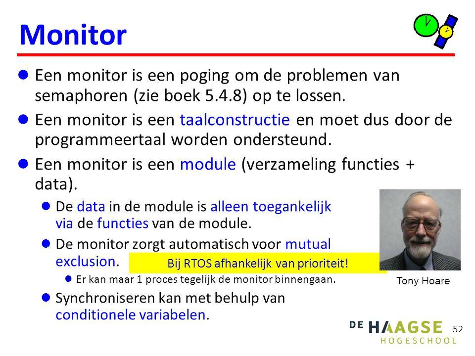 Een monitor is een poging om de problemen van semaphoren (zie boek 5.4.8) op te lossen. Een monitor is een taalconstructie en moet dus door de program