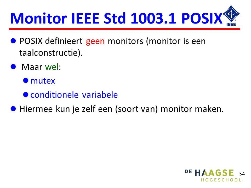 54 Monitor IEEE Std 1003.1 POSIX POSIX definieert geen monitors (monitor is een taalconstructie). Maar wel: mutex conditionele variabele Hiermee kun j