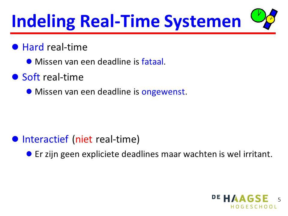 5 Indeling Real-Time Systemen Hard real-time Missen van een deadline is fataal. Soft real-time Missen van een deadline is ongewenst. Interactief (niet