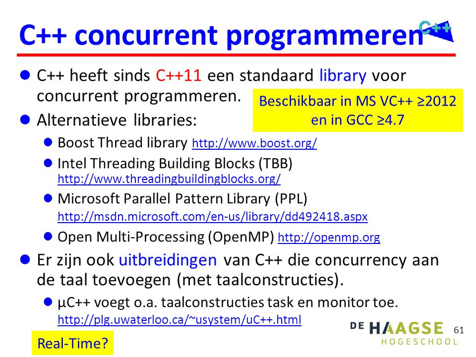 C++11 concurrency Threads Synchronisatie Mutexen Locks Conditionele variabelen Call once Asynchrone taken en Futures Atomics