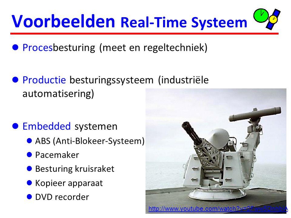 6 Voorbeelden Real-Time Systeem Procesbesturing (meet en regeltechniek) Productie besturingssysteem (industriële automatisering) Embedded systemen ABS