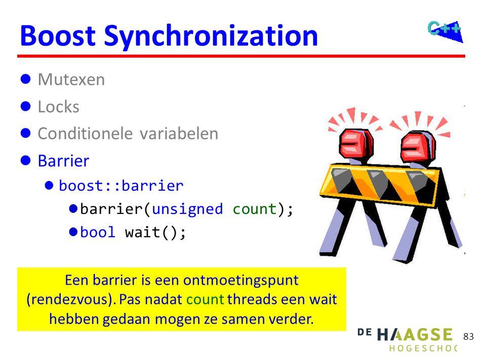 83 Boost Synchronization Mutexen Locks Conditionele variabelen Barrier boost::barrier barrier(unsigned count); bool wait(); Een barrier is een ontmoet