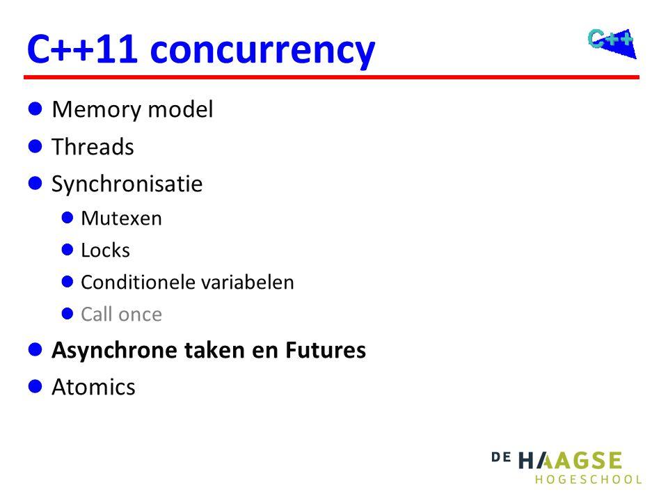 C++11 concurrency Memory model Threads Synchronisatie Mutexen Locks Conditionele variabelen Call once Asynchrone taken en Futures Atomics
