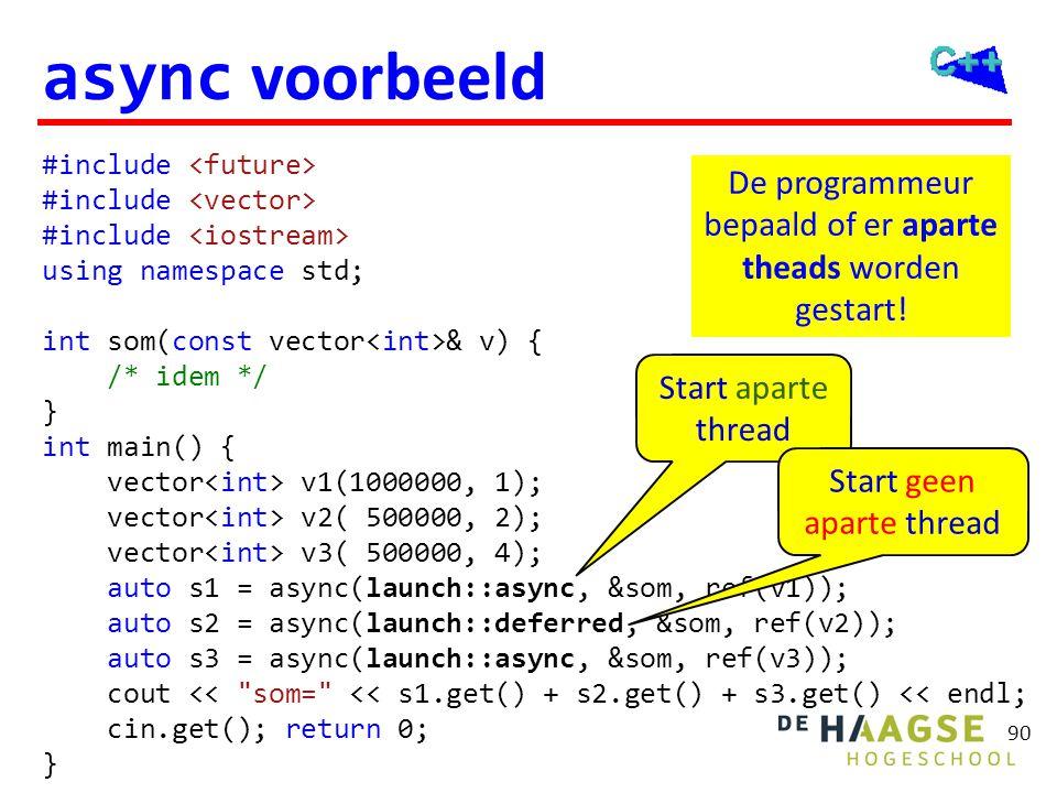 90 async voorbeeld #include using namespace std; int som(const vector & v) { /* idem */ } int main() { vector v1(1000000, 1); vector v2( 500000, 2); v