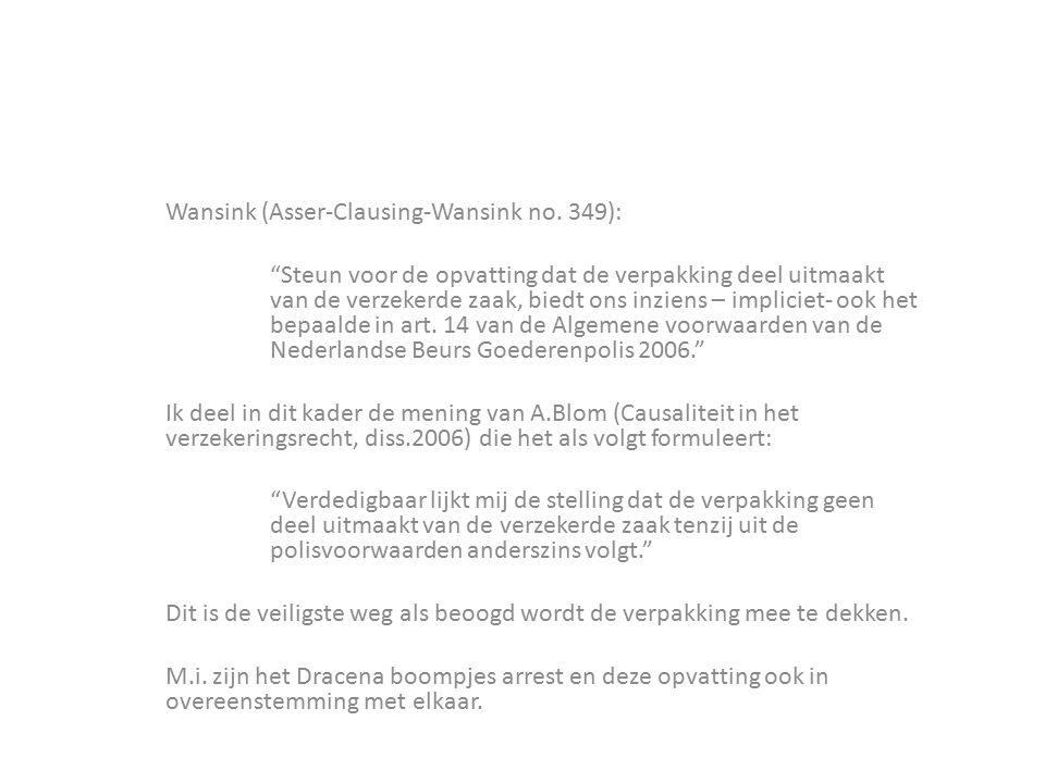 """Wansink (Asser-Clausing-Wansink no. 349): """"Steun voor de opvatting dat de verpakking deel uitmaakt van de verzekerde zaak, biedt ons inziens – implici"""
