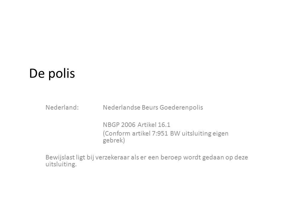 De polis Nederland:Nederlandse Beurs Goederenpolis NBGP 2006 Artikel 16.1 (Conform artikel 7:951 BW uitsluiting eigen gebrek) Bewijslast ligt bij verz