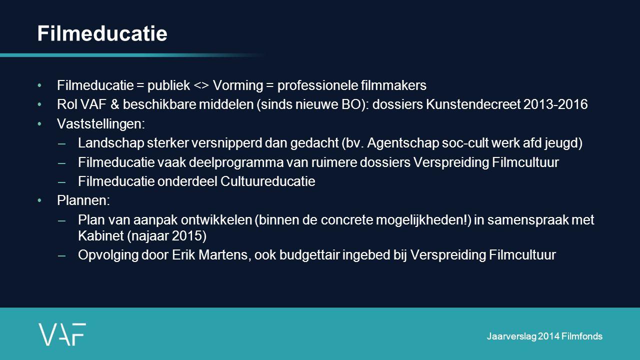 Filmeducatie Filmeducatie = publiek <> Vorming = professionele filmmakers Rol VAF & beschikbare middelen (sinds nieuwe BO): dossiers Kunstendecreet 2013-2016 Vaststellingen: –Landschap sterker versnipperd dan gedacht (bv.