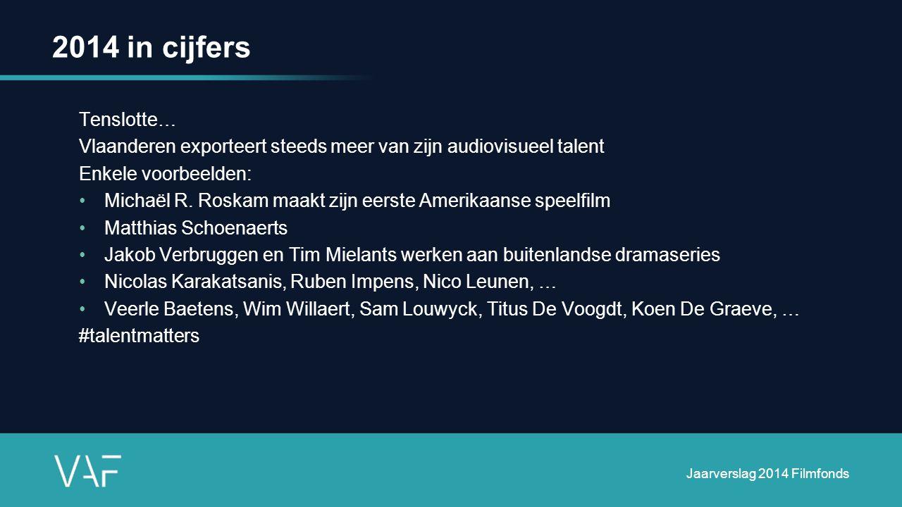 2014 in cijfers Tenslotte… Vlaanderen exporteert steeds meer van zijn audiovisueel talent Enkele voorbeelden: Michaël R.