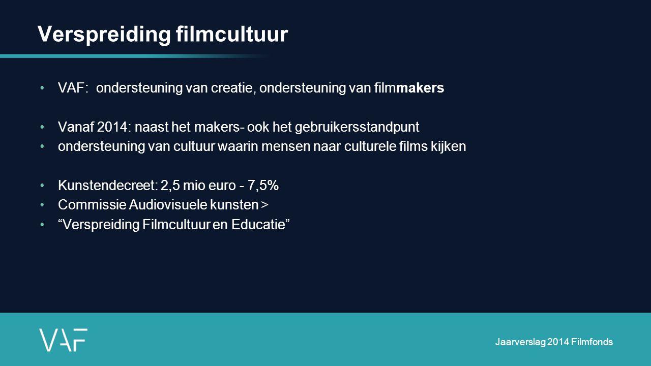 Verspreiding filmcultuur VAF: ondersteuning van creatie, ondersteuning van filmmakers Vanaf 2014: naast het makers- ook het gebruikersstandpunt ondersteuning van cultuur waarin mensen naar culturele films kijken Kunstendecreet: 2,5 mio euro - 7,5% Commissie Audiovisuele kunsten > Verspreiding Filmcultuur en Educatie Jaarverslag 2014 Filmfonds