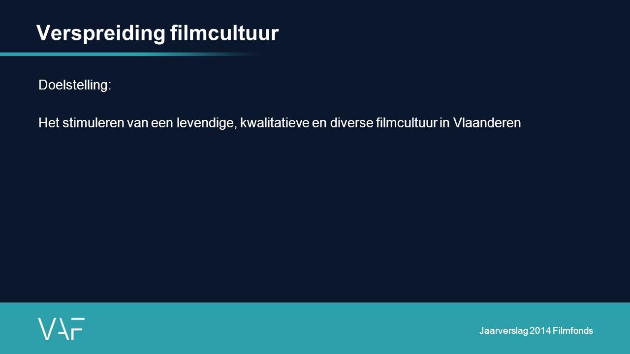 Verspreiding filmcultuur Doelstelling: Het stimuleren van een levendige, kwalitatieve en diverse filmcultuur in Vlaanderen Jaarverslag 2014 Filmfonds