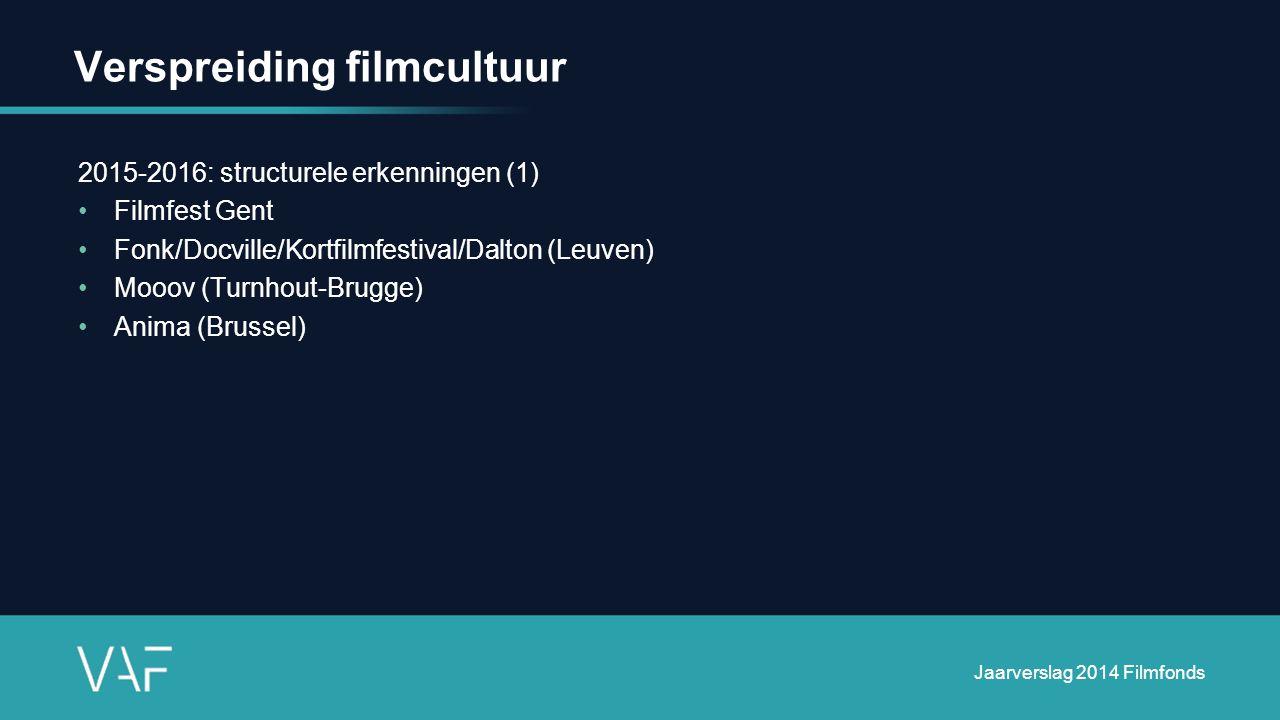 Verspreiding filmcultuur 2015-2016: structurele erkenningen (1) Filmfest Gent Fonk/Docville/Kortfilmfestival/Dalton (Leuven) Mooov (Turnhout-Brugge) Anima (Brussel) Jaarverslag 2014 Filmfonds