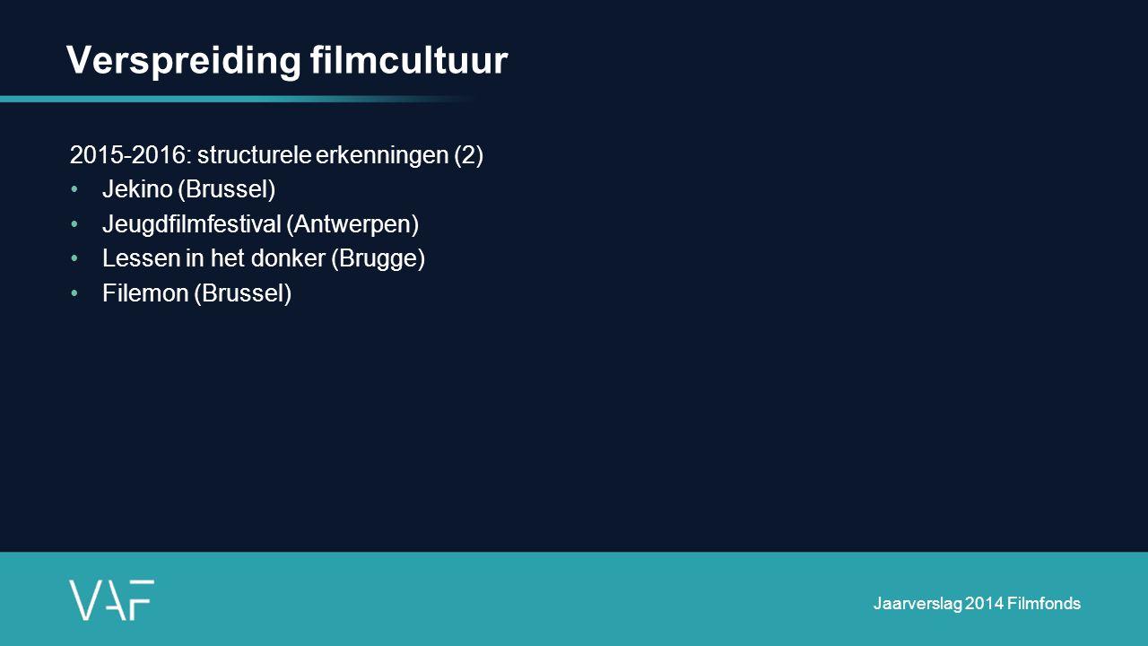 Verspreiding filmcultuur 2015-2016: structurele erkenningen (2) Jekino (Brussel) Jeugdfilmfestival (Antwerpen) Lessen in het donker (Brugge) Filemon (Brussel) Jaarverslag 2014 Filmfonds