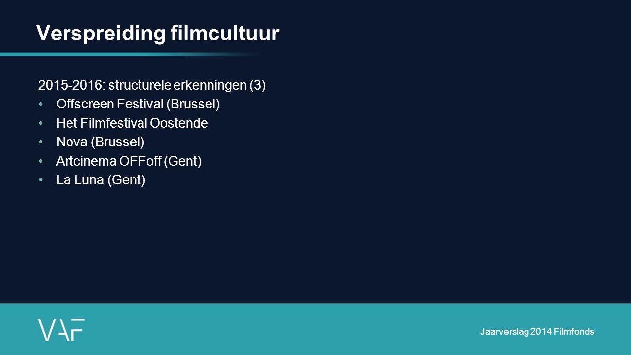 Verspreiding filmcultuur 2015-2016: structurele erkenningen (3) Offscreen Festival (Brussel) Het Filmfestival Oostende Nova (Brussel) Artcinema OFFoff (Gent) La Luna (Gent) Jaarverslag 2014 Filmfonds