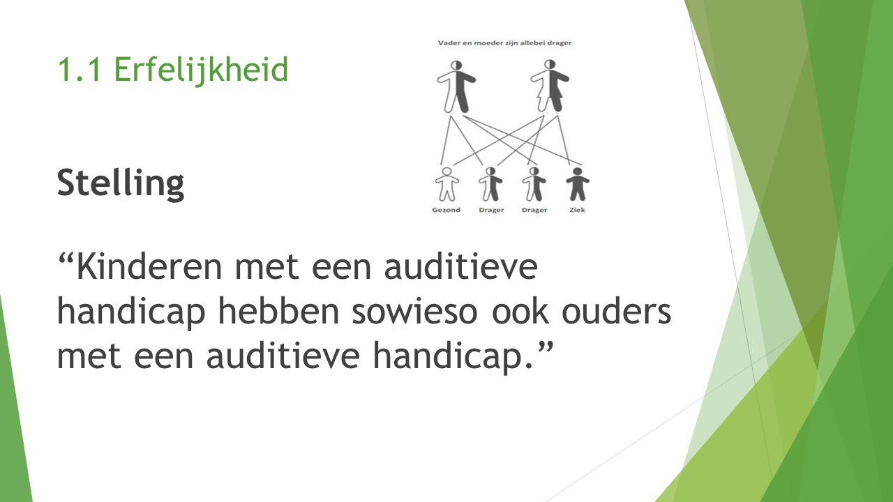 1.2 Opvoeding met of zonder gebarentaal Stelling Dove mensen moeten we opvoeden met behulp van gebarentaal.