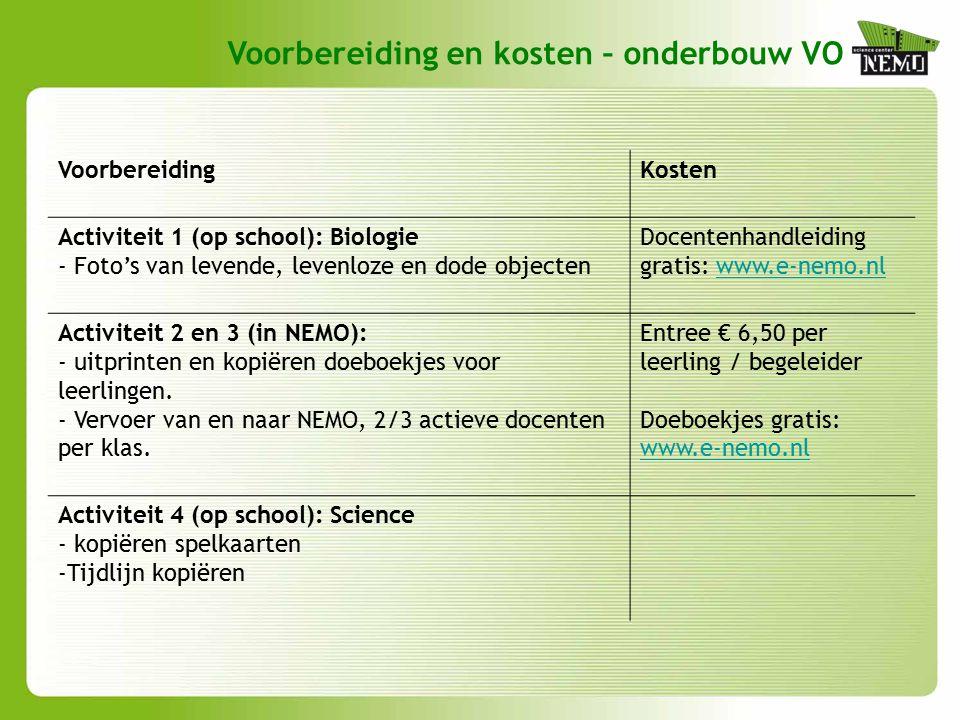 Voorbereiding en kosten – onderbouw VO VoorbereidingKosten Activiteit 1 (op school): Biologie - Foto's van levende, levenloze en dode objecten Docentenhandleiding gratis: www.e-nemo.nlwww.e-nemo.nl Activiteit 2 en 3 (in NEMO): - uitprinten en kopiëren doeboekjes voor leerlingen.