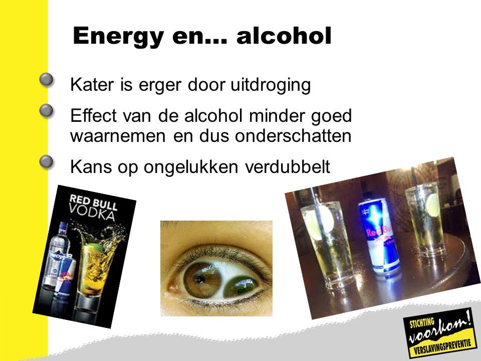 11 Energy en… alcohol Kater is erger door uitdroging Effect van de alcohol minder goed waarnemen en dus onderschatten Kans op ongelukken verdubbelt