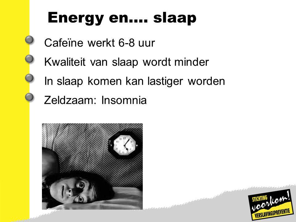12 Energy en…. slaap Cafeïne werkt 6-8 uur Kwaliteit van slaap wordt minder In slaap komen kan lastiger worden Zeldzaam: Insomnia