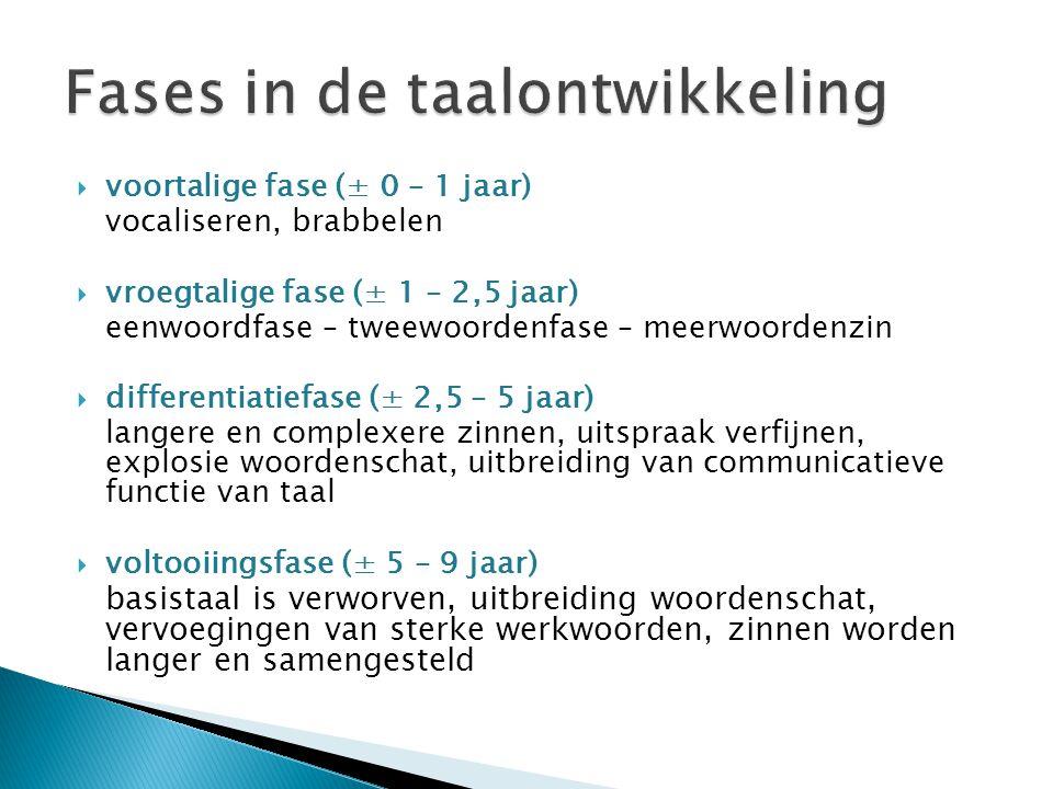  voortalige fase (± 0 – 1 jaar) vocaliseren, brabbelen  vroegtalige fase (± 1 – 2,5 jaar) eenwoordfase – tweewoordenfase – meerwoordenzin  differen