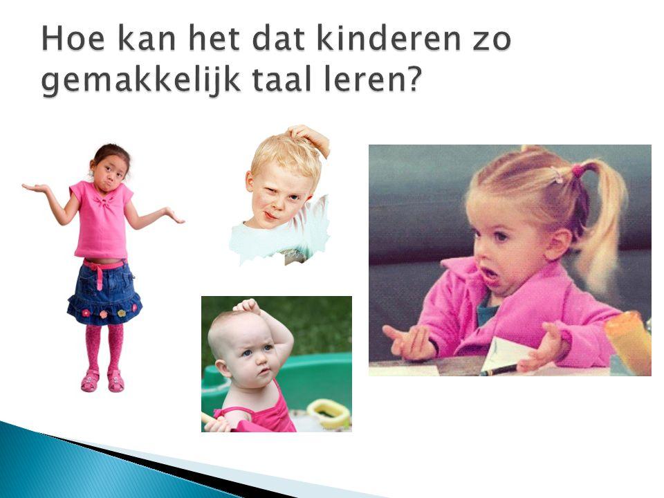 1) Generatieve taalkunde (Chomsky) We hebben een aangeboren taalvermogen 2) Cognitieve taalkunde We hebben wel een aangeboren taalvermogen, maar ook de taalomgeving is van groot belang voor taalverwerving.