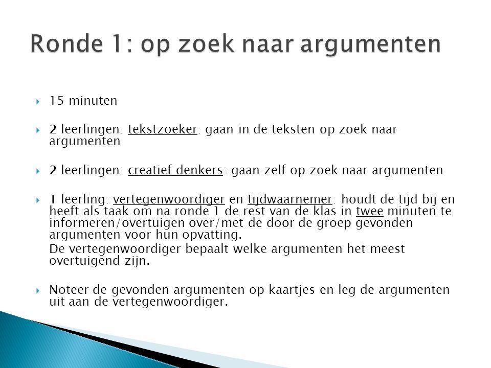  15 minuten  2 leerlingen: tekstzoeker: gaan in de teksten op zoek naar argumenten  2 leerlingen: creatief denkers: gaan zelf op zoek naar argument