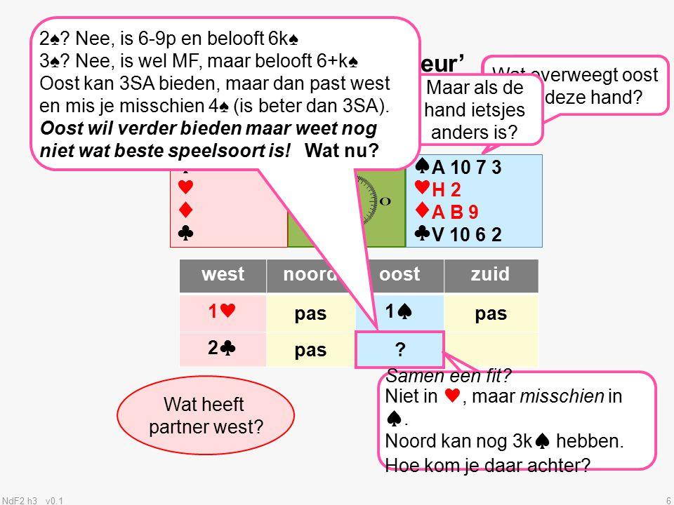 NdF2 h3 v0.117 10+p 4+k♠ Wat heeft partner west.