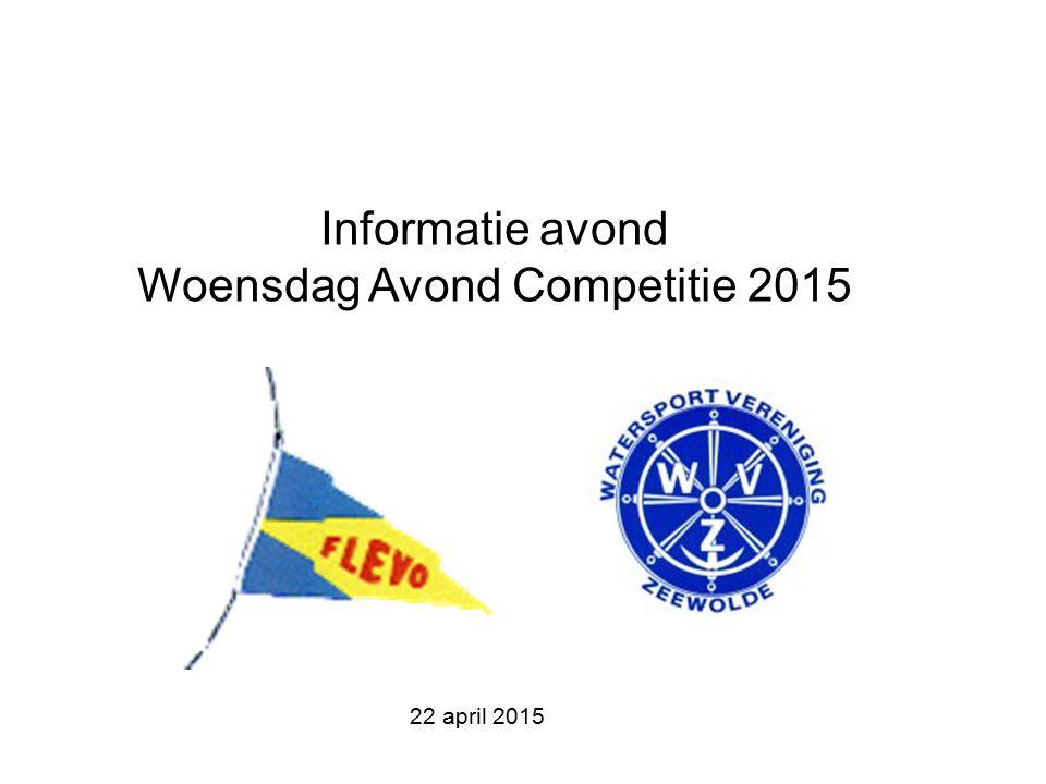 Informatie avond Woensdag Avond Competitie 2015 22 april 2015