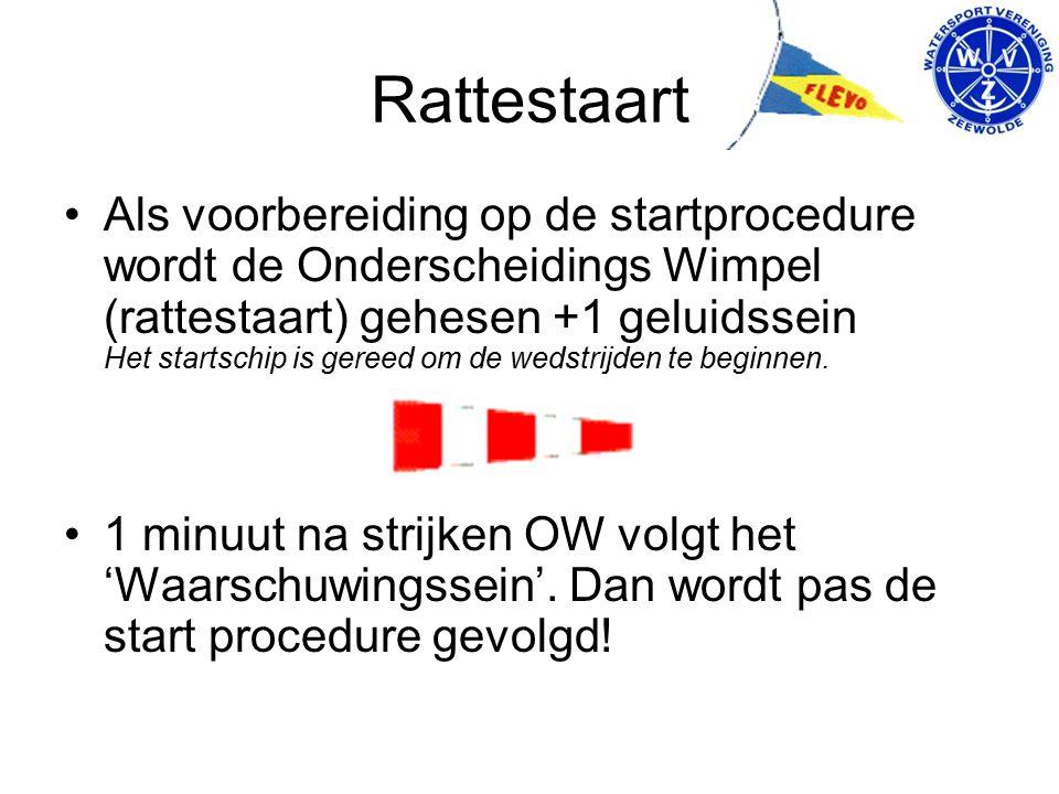 Rattestaart Als voorbereiding op de startprocedure wordt de Onderscheidings Wimpel (rattestaart) gehesen +1 geluidssein Het startschip is gereed om de wedstrijden te beginnen.