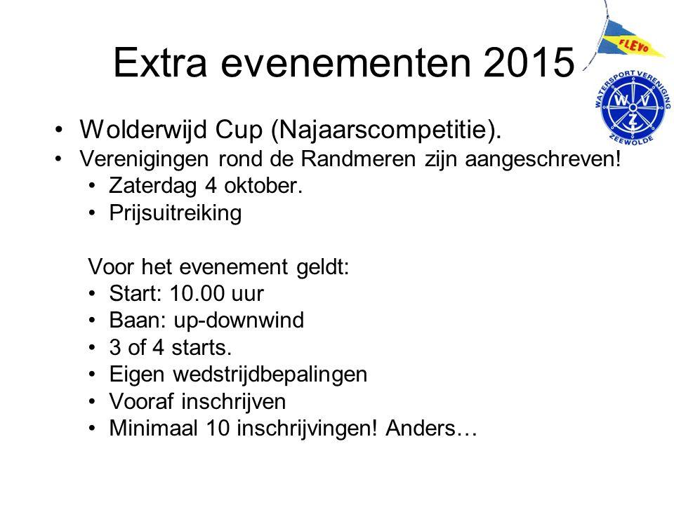 Extra evenementen 2015 Wolderwijd Cup (Najaarscompetitie). Verenigingen rond de Randmeren zijn aangeschreven! Zaterdag 4 oktober. Prijsuitreiking Voor