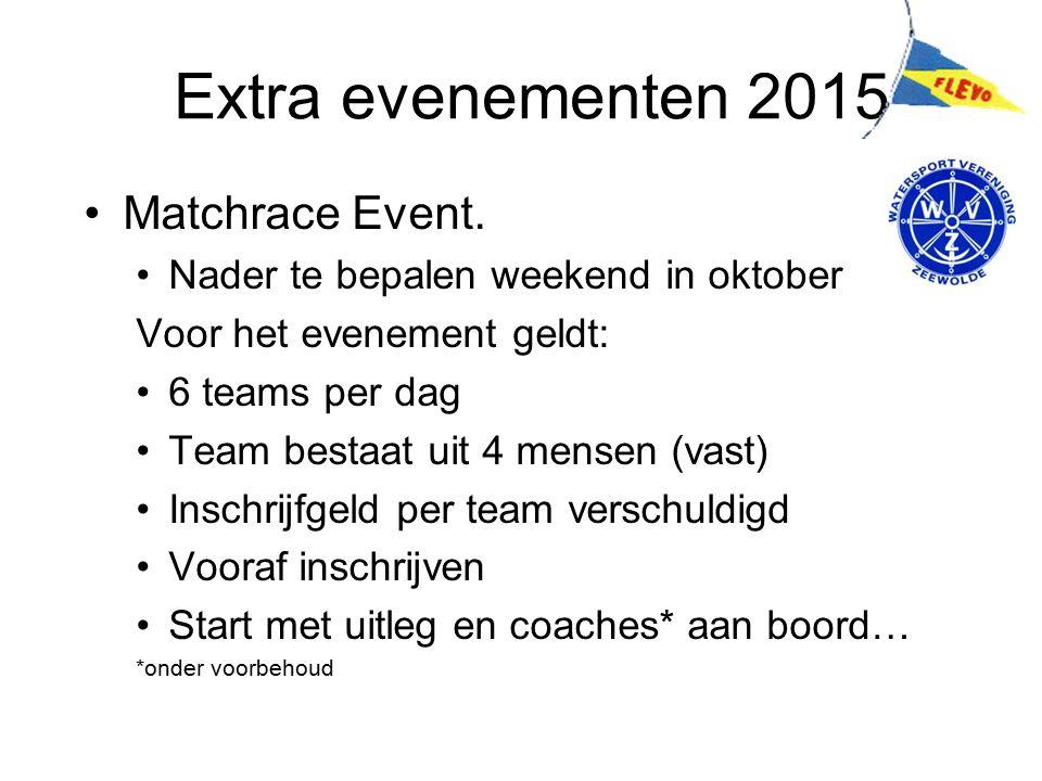 Extra evenementen 2015 Matchrace Event. Nader te bepalen weekend in oktober Voor het evenement geldt: 6 teams per dag Team bestaat uit 4 mensen (vast)