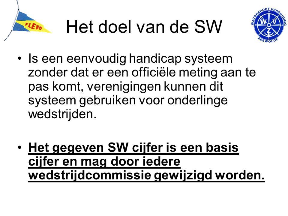 Het doel van de SW Is een eenvoudig handicap systeem zonder dat er een officiële meting aan te pas komt, verenigingen kunnen dit systeem gebruiken voo