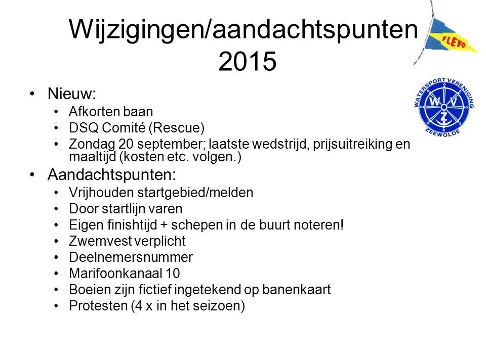 Wijzigingen/aandachtspunten 2015 Nieuw: Afkorten baan DSQ Comité (Rescue) Zondag 20 september; laatste wedstrijd, prijsuitreiking en maaltijd (kosten etc.