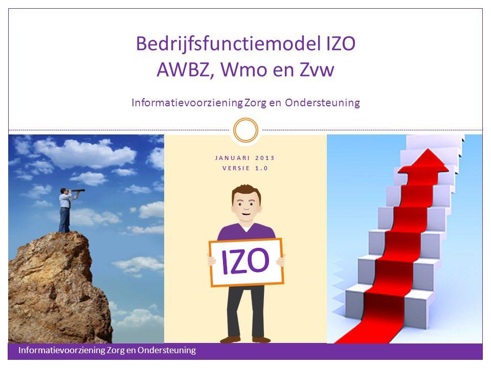 IZO Doel van het Bedrijfsfunctiemodel IZO Het bedrijfsfunctiemodel (BFM)* biedt een grafische weergave en eenduidige definitie van de bedrijfsfuncties voor de uitvoering van de AWBZ, Wmo en Zvw.