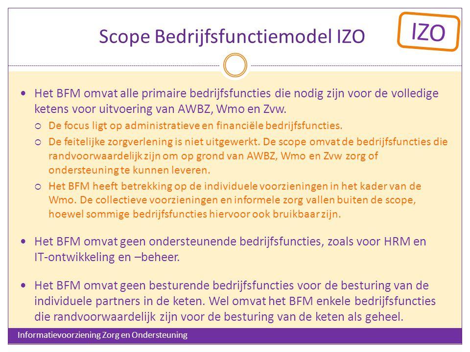 IZO Scope Bedrijfsfunctiemodel IZO Het BFM omvat alle primaire bedrijfsfuncties die nodig zijn voor de volledige ketens voor uitvoering van AWBZ, Wmo