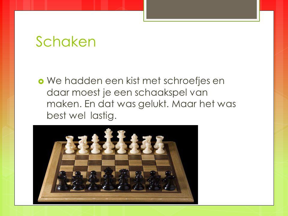 Schaken  We hadden een kist met schroefjes en daar moest je een schaakspel van maken.