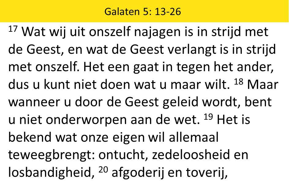 17 Wat wij uit onszelf najagen is in strijd met de Geest, en wat de Geest verlangt is in strijd met onszelf.