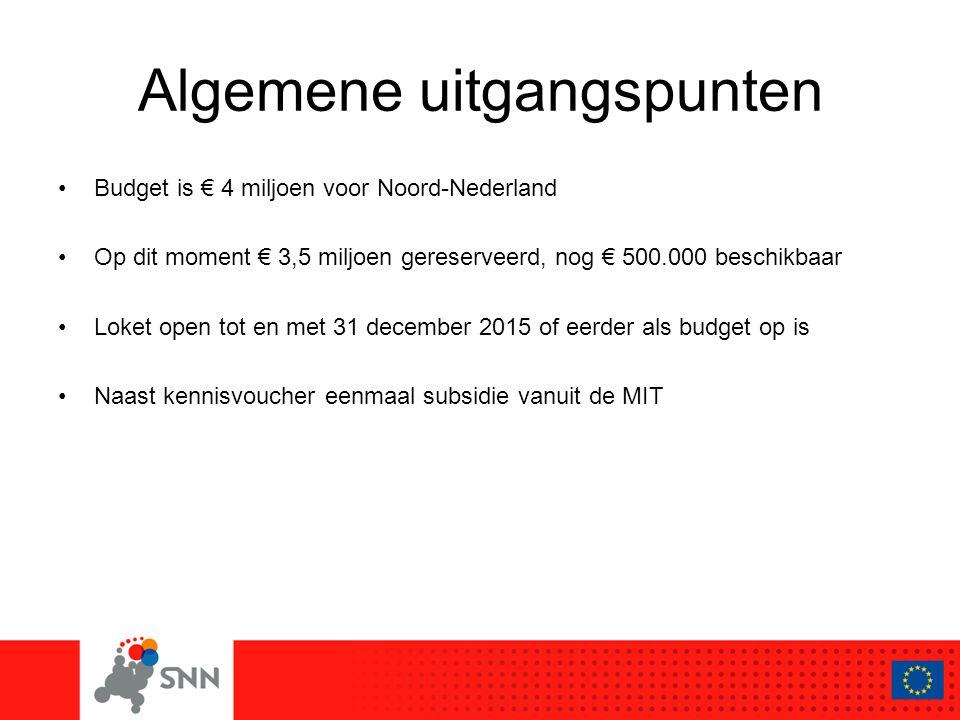 Algemene uitgangspunten Budget is € 4 miljoen voor Noord-Nederland Op dit moment € 3,5 miljoen gereserveerd, nog € 500.000 beschikbaar Loket open tot en met 31 december 2015 of eerder als budget op is Naast kennisvoucher eenmaal subsidie vanuit de MIT