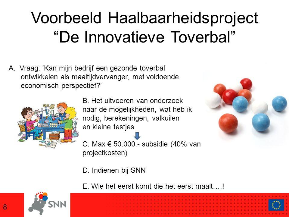 Voorbeeld Haalbaarheidsproject De Innovatieve Toverbal 8 A.Vraag: 'Kan mijn bedrijf een gezonde toverbal ontwikkelen als maaltijdvervanger, met voldoende economisch perspectief ' B.