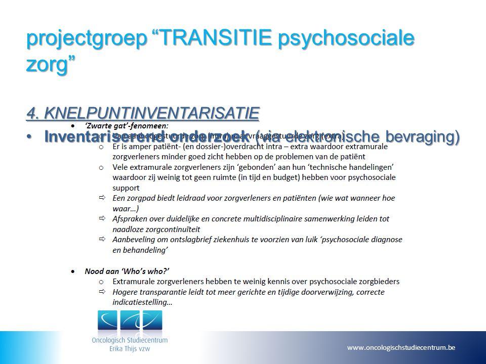 """projectgroep """"TRANSITIE psychosociale zorg"""" 4. KNELPUNTINVENTARISATIE Inventariserend onderzoek (via elektronische bevraging)Inventariserend onderzoek"""