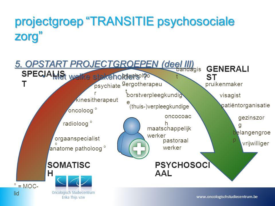 """projectgroep """"TRANSITIE psychosociale zorg"""" 5. OPSTART PROJECTGROEPEN (deel III) Met welke stakeholders ?Met welke stakeholders ? www.oncologischstudi"""
