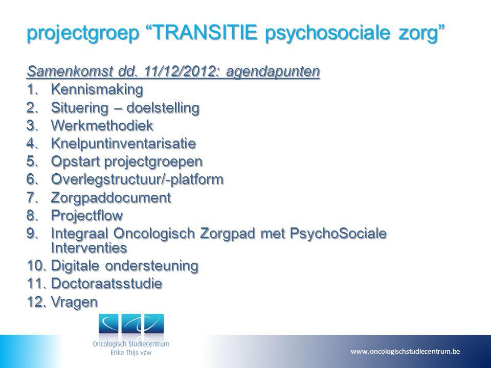 "projectgroep ""TRANSITIE psychosociale zorg"" Samenkomst dd. 11/12/2012: agendapunten 1.Kennismaking 2.Situering – doelstelling 3.Werkmethodiek 4.Knelpu"