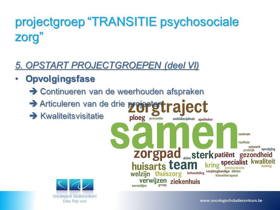 """projectgroep """"TRANSITIE psychosociale zorg"""" 5. OPSTART PROJECTGROEPEN (deel VI) OpvolgingsfaseOpvolgingsfase  Continueren van de weerhouden afspraken"""