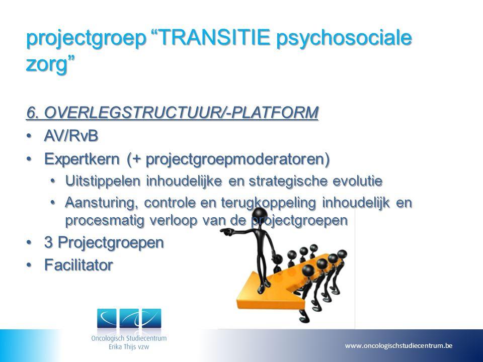 """projectgroep """"TRANSITIE psychosociale zorg"""" 6. OVERLEGSTRUCTUUR/-PLATFORM AV/RvBAV/RvB Expertkern (+ projectgroepmoderatoren)Expertkern (+ projectgroe"""