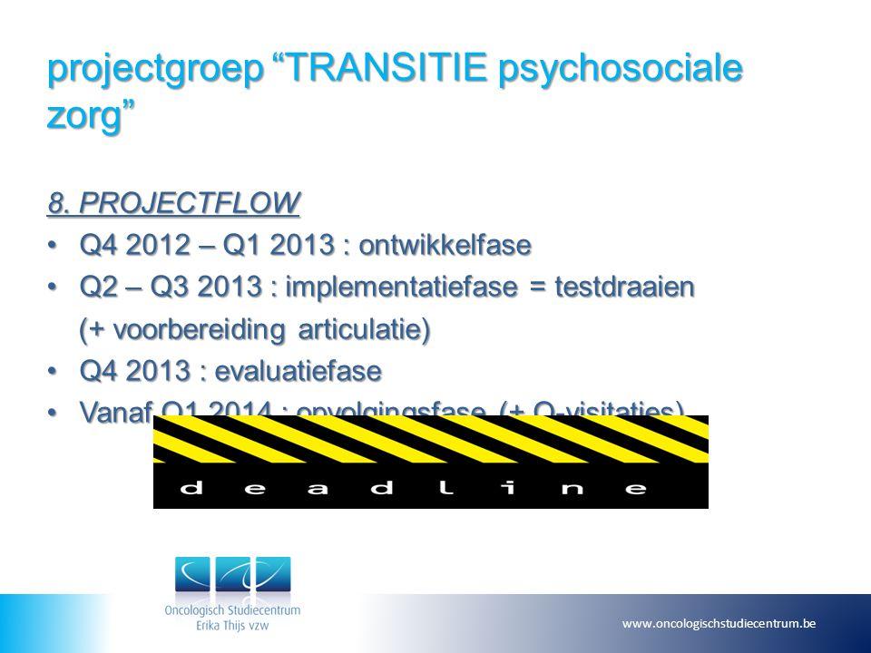 "projectgroep ""TRANSITIE psychosociale zorg"" 8. PROJECTFLOW Q4 2012 – Q1 2013 : ontwikkelfaseQ4 2012 – Q1 2013 : ontwikkelfase Q2 – Q3 2013 : implement"