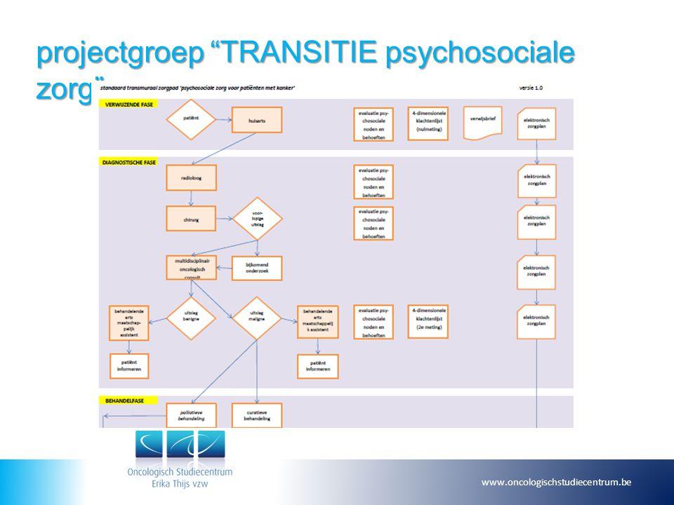 projectgroep TRANSITIE psychosociale zorg www.oncologischstudiecentrum.be