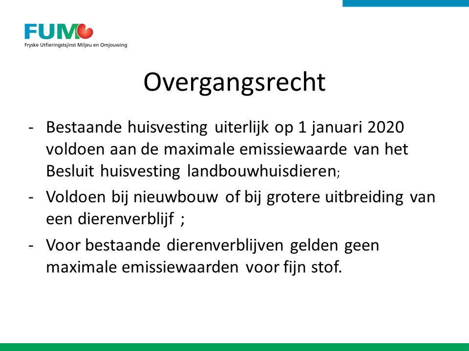 Overgangsrecht -Bestaande huisvesting uiterlijk op 1 januari 2020 voldoen aan de maximale emissiewaarde van het Besluit huisvesting landbouwhuisdieren